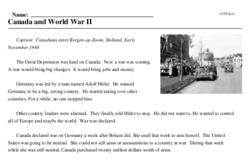 Print <i>Canada and World War II</i> reading comprehension.