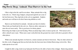 Print <i>Dig Down Deep: Animals That Burrow in the Soil</i> reading comprehension.