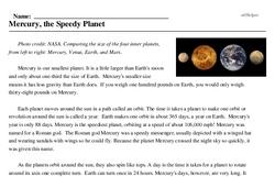 Print <i>Mercury, the Speedy Planet</i> reading comprehension.