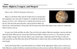 Print <i>Mars: Highest, Longest, and Deepest</i> reading comprehension.