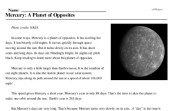 Print <i>Mercury: A Planet of Opposites</i> reading comprehension.