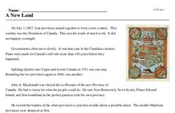 Print <i>A New Land</i> reading comprehension.