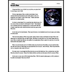 Print <i>Dwarf Pluto</i> reading comprehension.