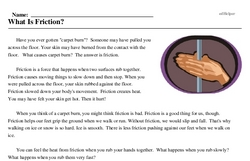 Print <i>What Is Friction?</i> reading comprehension.