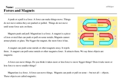 Print <i>Forces and Magnets</i> reading comprehension.