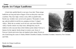 Print <i>Fjords Are Unique Landforms</i> reading comprehension.