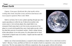 Print <i>Planet Earth</i> reading comprehension.