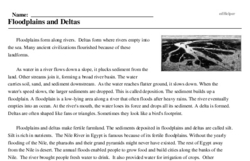 Print <i>Floodplains and Deltas</i> reading comprehension.
