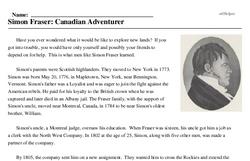 Print <i>Simon Fraser: Canadian Adventurer</i> reading comprehension.