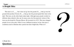Print <i>A Bright Idea</i> reading comprehension.