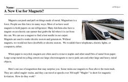Print <i>A New Use for Magnets?</i> reading comprehension.