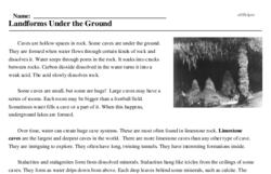 Print <i>Landforms Under the Ground</i> reading comprehension.