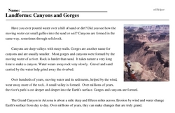 Print <i>Landforms: Canyons and Gorges</i> reading comprehension.