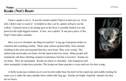 Print <i>Koala (Not!) Bears</i> reading comprehension.