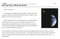 Print <i>How the Moon Affects the Earth</i> reading comprehension.