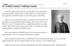 Print <i>Sir Wilfrid Laurier: Unifying Canada</i> reading comprehension.