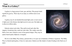 Print <i>What Is a Galaxy?</i> reading comprehension.
