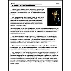 Print <i>The Mummy of King Tutankhamun</i> reading comprehension.