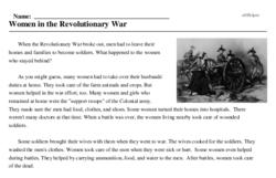 Print <i>Women in the Revolutionary War</i> reading comprehension.