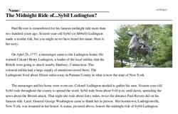 Print <i>The Midnight Ride of...Sybil Ludington?</i> reading comprehension.