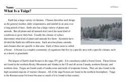 Print <i>What Is a Taiga?</i> reading comprehension.