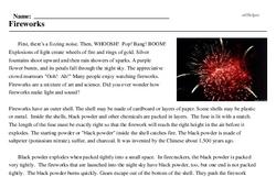 Print <i>Fireworks</i> reading comprehension.