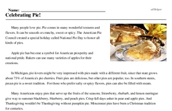 Print <i>Celebrating Pie!</i> reading comprehension.