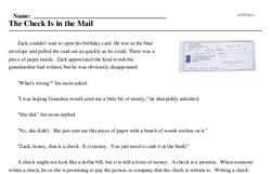 Print <i>The Check Is in the Mail</i> reading comprehension.