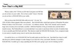 Print <i>Now <i>That's</i> a Big Bill!</i> reading comprehension.