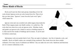 Print <i>Three Kinds of Rocks</i> reading comprehension.