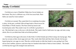 Print <i>Sneaky Cowbirds!</i> reading comprehension.