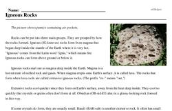 Print <i>Igneous Rocks</i> reading comprehension.