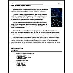 Print <i>How Do Solar Panels Work?</i> reading comprehension.