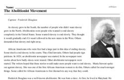 Print <i>The Abolitionist Movement</i> reading comprehension.