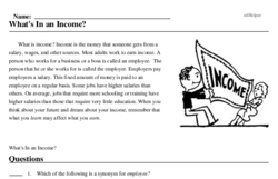 Print <i>What's <i>In</i> an Income?</i> reading comprehension.