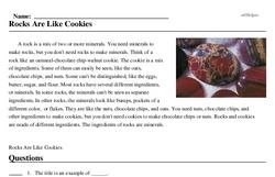 Print <i>Rocks Are Like Cookies</i> reading comprehension.