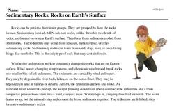 Print <i>Sedimentary Rocks, Rocks on Earth's Surface</i> reading comprehension.