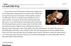 Print <i>A Loud Little Frog</i> reading comprehension.
