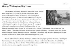 Print <i>George Washington, Dog Lover</i> reading comprehension.