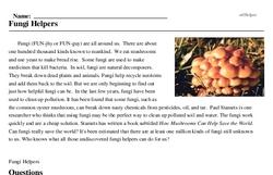 Print <i>Fungi Helpers</i> reading comprehension.