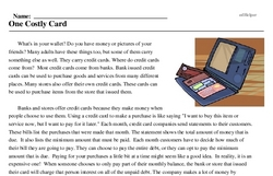 Print <i>One Costly Card</i> reading comprehension.