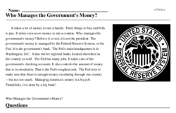 Print <i>Who Manages the Government's Money?</i> reading comprehension.