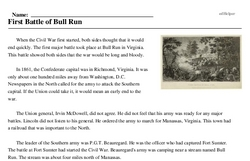 Print <i>First Battle of Bull Run</i> reading comprehension.