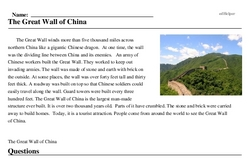 Print <i>The Great Wall of China</i> reading comprehension.