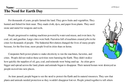 Print <i>The Need for Earth Day</i> reading comprehension.