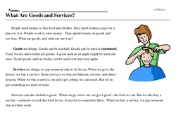 Print <i>What Are Goods and Services?</i> reading comprehension.