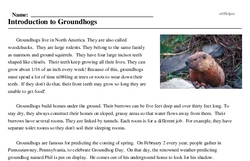 Print <i>Introduction to Groundhogs</i> reading comprehension.