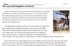 Print <i>The Sons and Daughters of Liberty</i> reading comprehension.