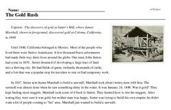 Print <i>The Gold Rush</i> reading comprehension.