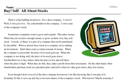 Print <i>Buy! Sell! All About Stocks</i> reading comprehension.